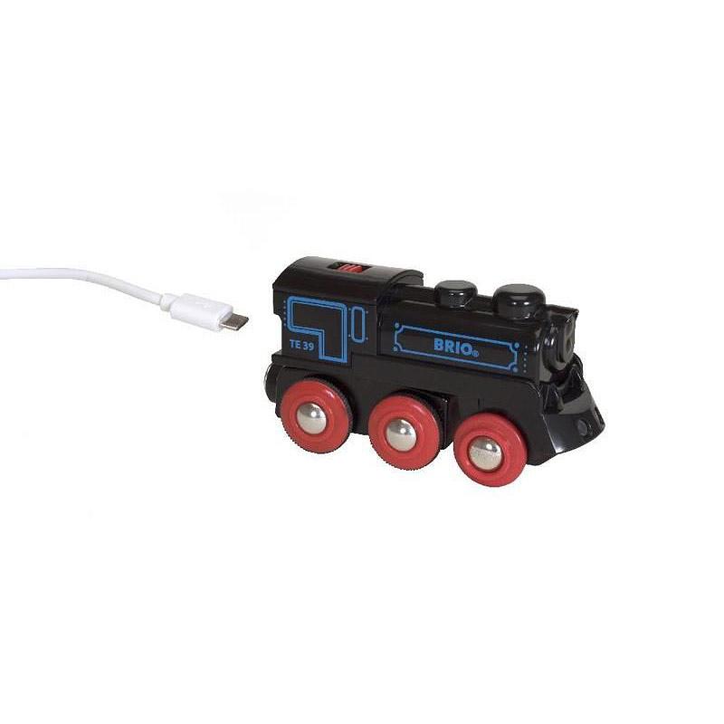 Elektrická lokomotiva nabíjecí přes mini USB kabel
