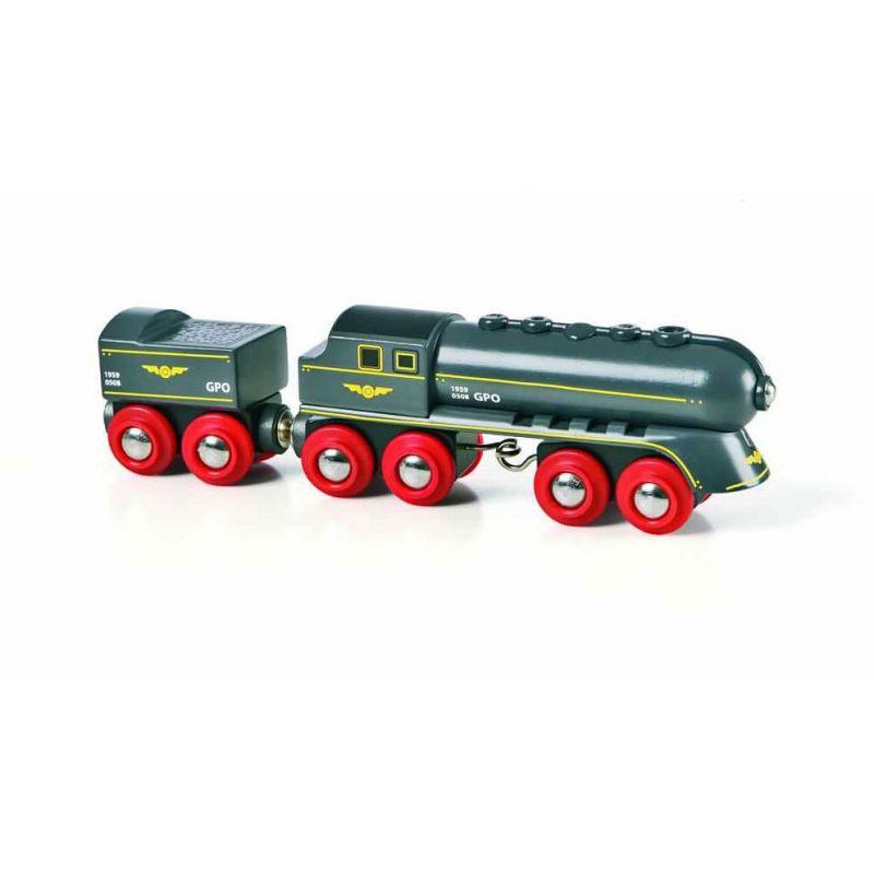 Vlak s vagonem pro vláčkodráhy