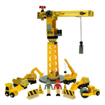 Dřevěné příslušenství vláčkodráhy – Jeřáb a stavební stroje