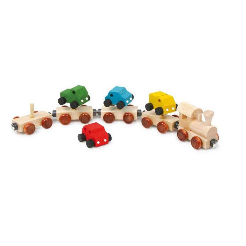 Dřevěný magnetický vláček s auty