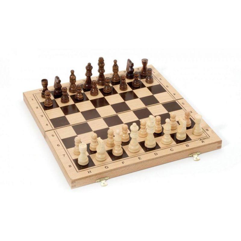 Dřevěné šachy ve skládacím boxu