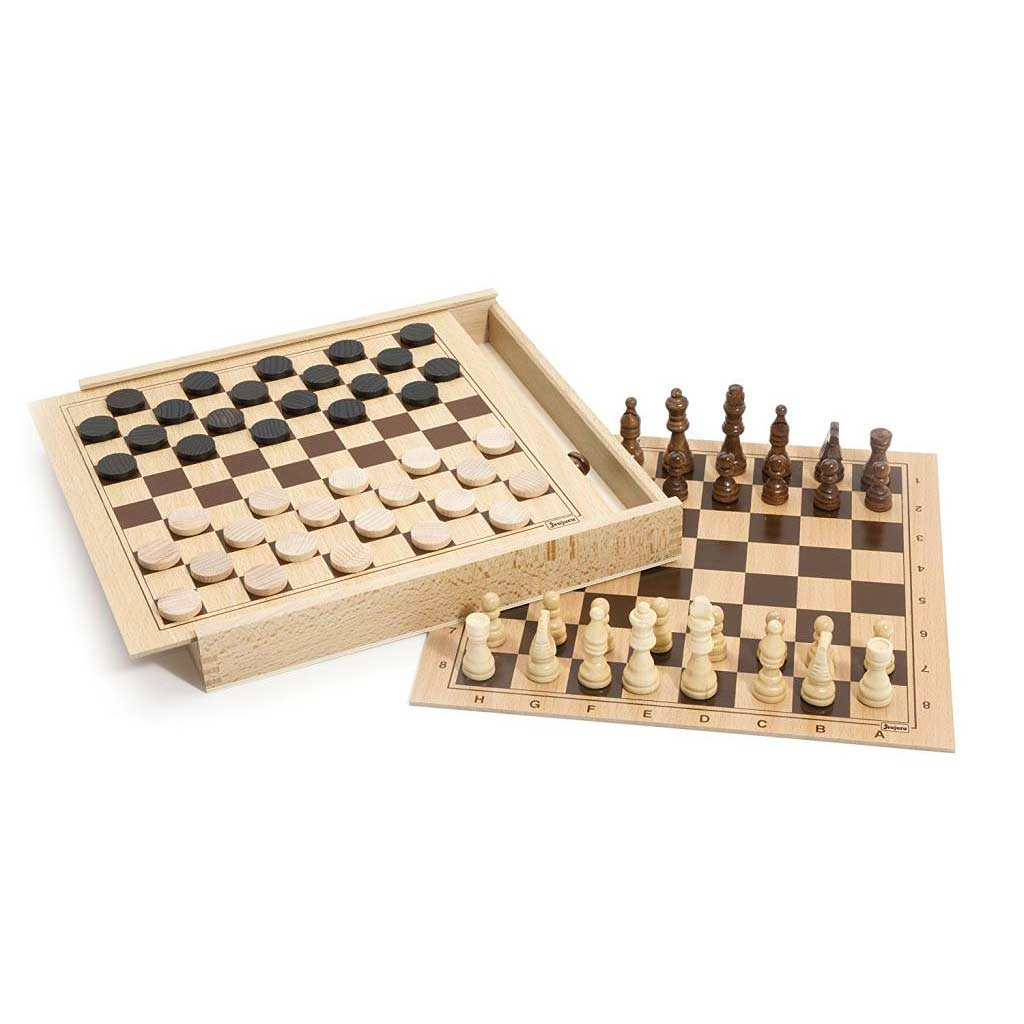 Dřevěné šachy a dáma v dřevěném boxu