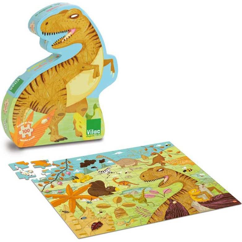 Dřevěné puzzle dinosaurus