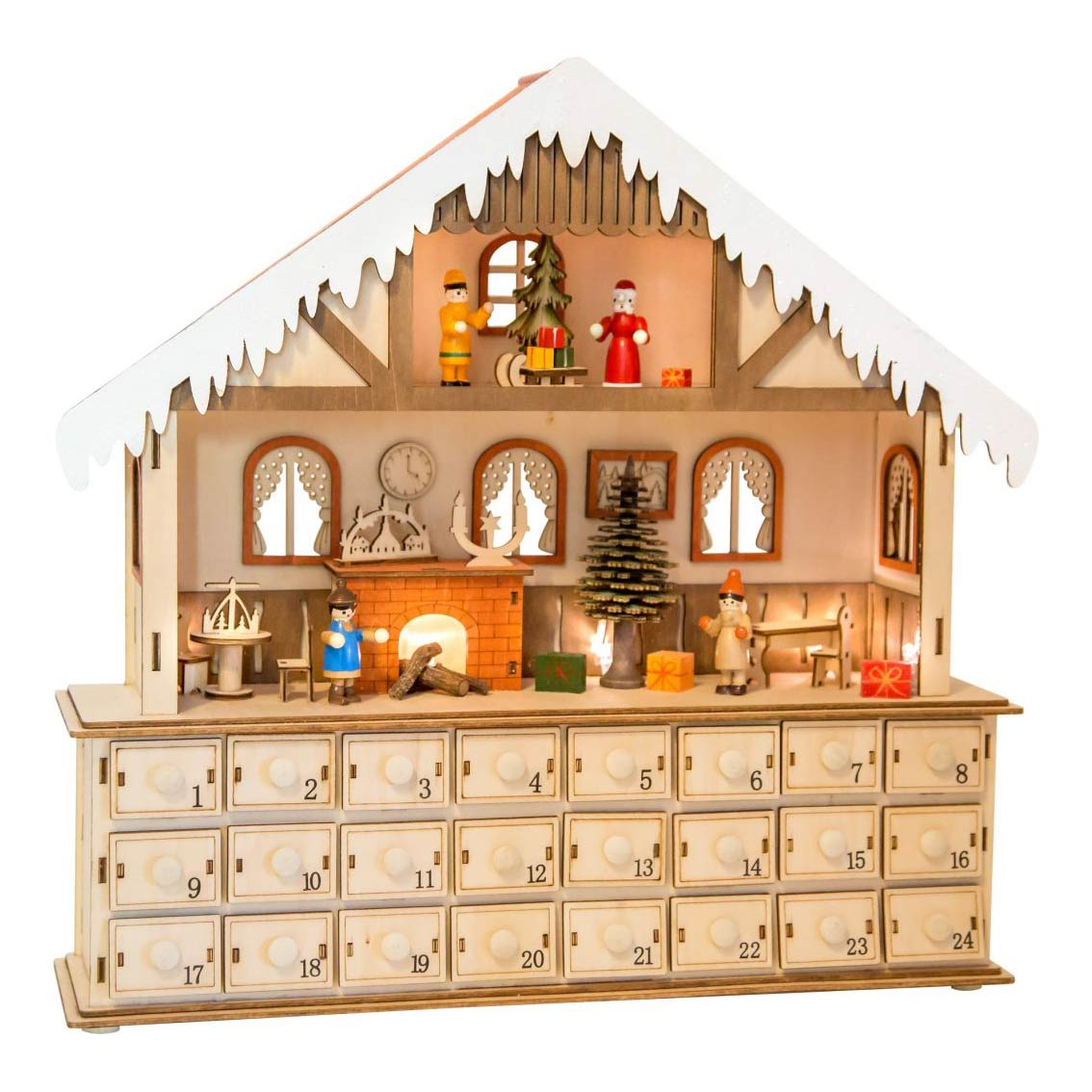 Vánoční dřevěný, adventní kalendář