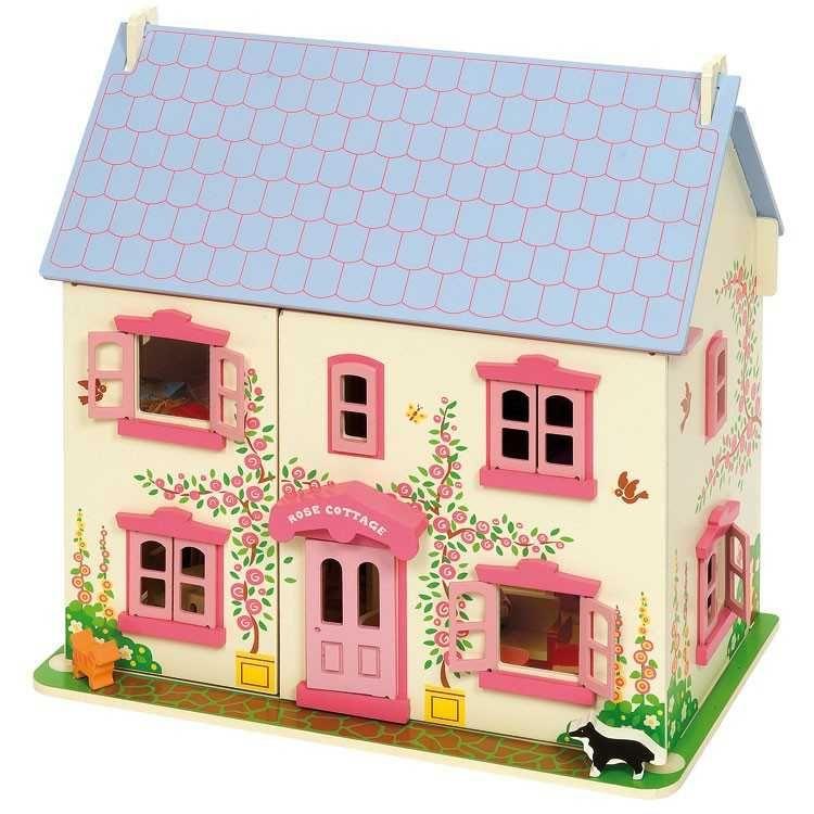 Růžový dřevěný domeček pro panenky