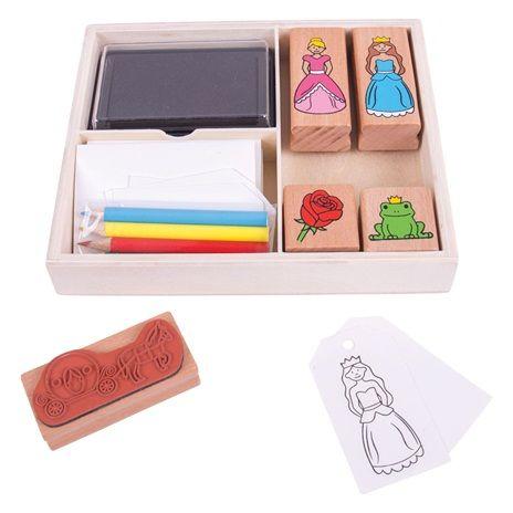 Bigjigs Toys Dřevěné razítka s pastelkami Pohádka  be1a210915