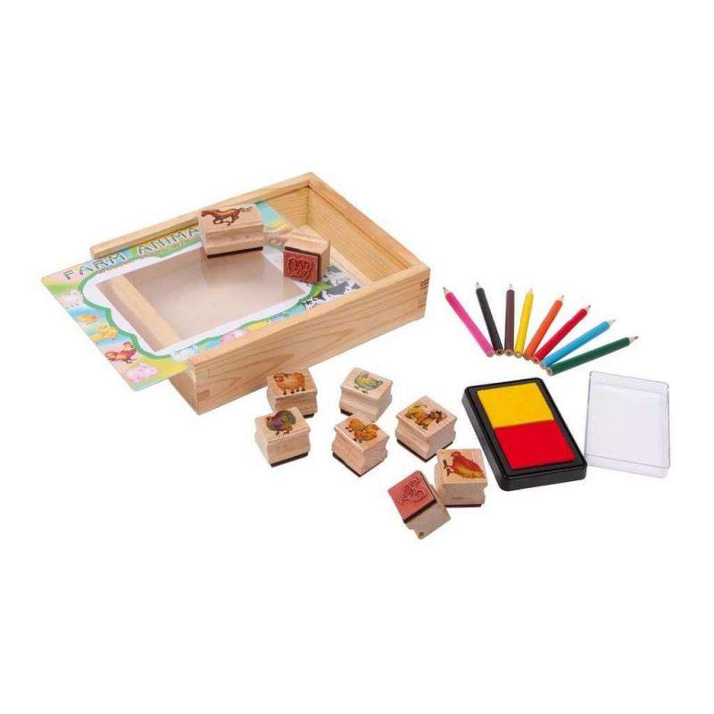 Bigjigs Toys Dřevěné razítka s pastelkami Farma 6ca6d63ee8