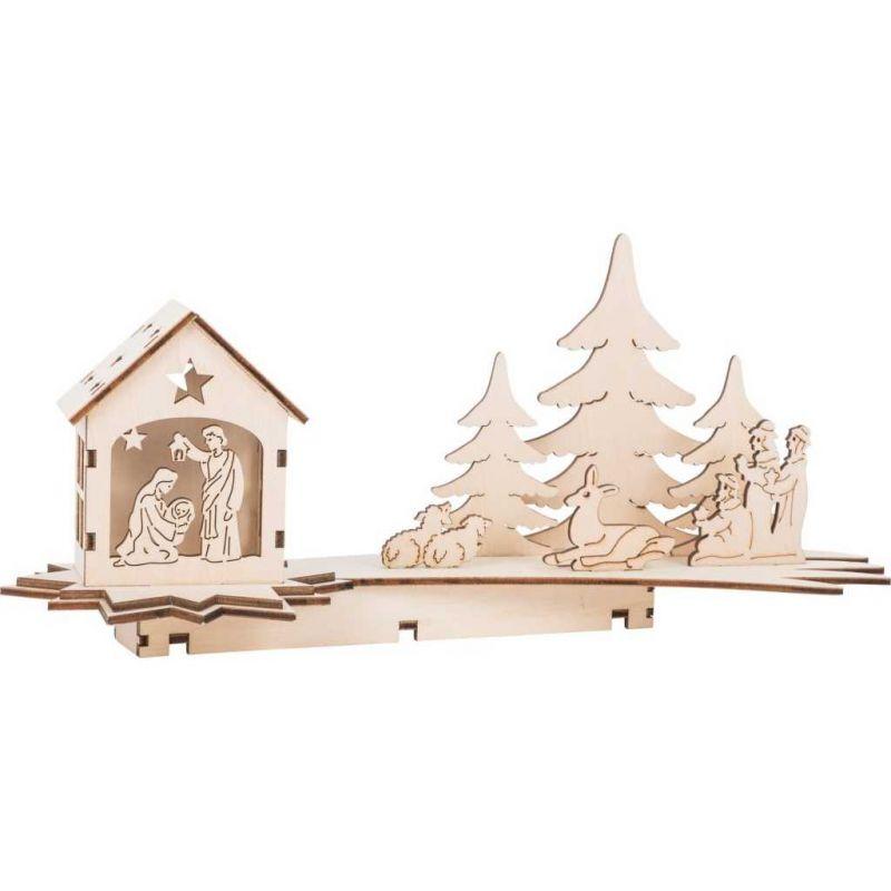 Dřevěný svítící betlém